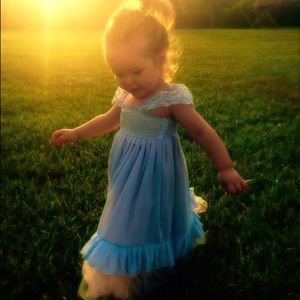Baby Blue Toddler Girl Dress made with French lace